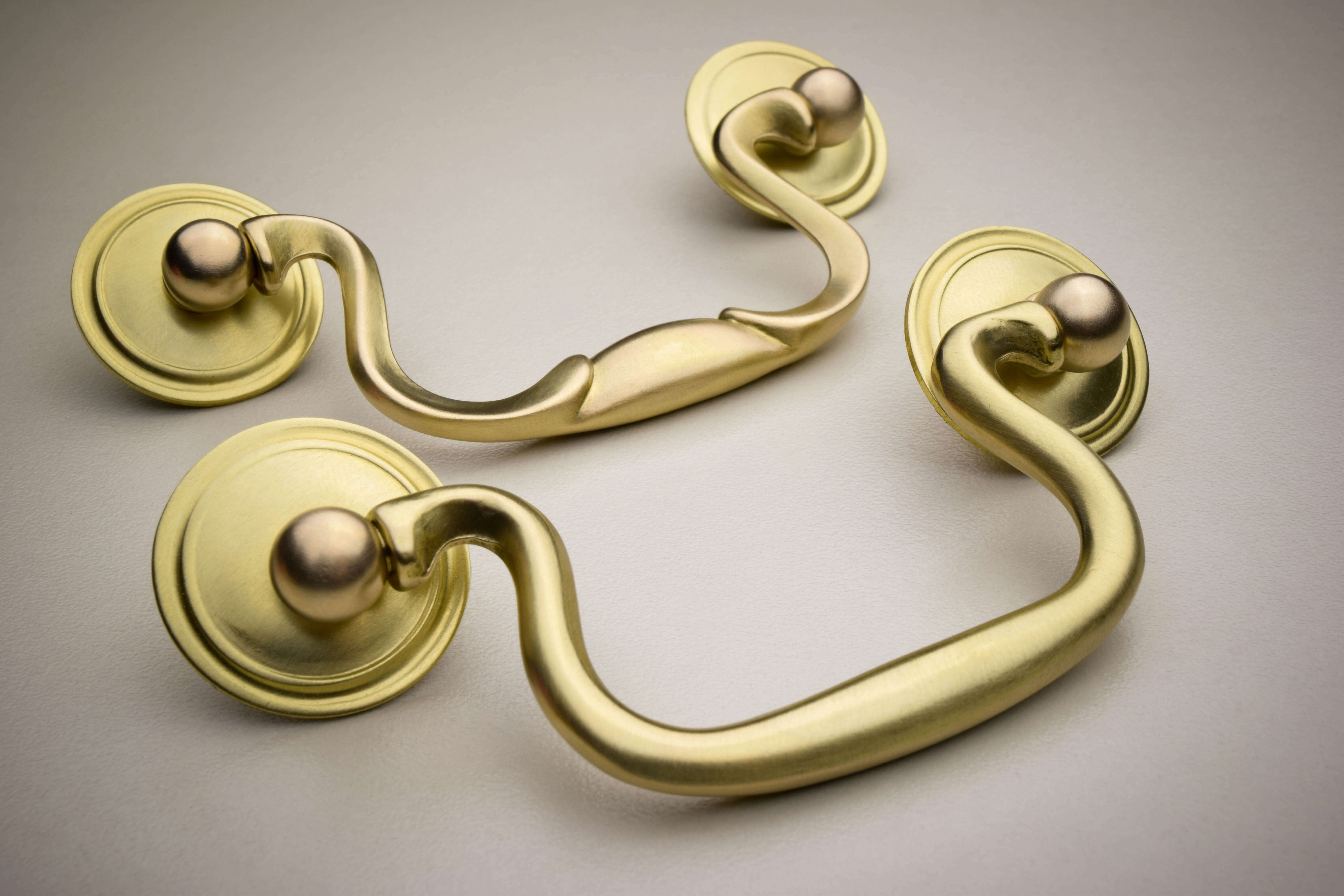 Brass hardware in a matte finish