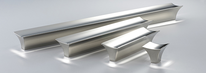 The Glacier kitchen cabinet hardware line from Armac Martin