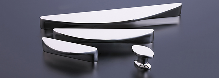 The Snowdrift kitchen cabinet hardware line from Armac Martin