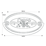 H-7 Crossed Cannon Hepplewhite Drawer Pull Line Drawing