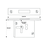 LK-22 Right Handed Cabinet Lock Line Drawing