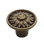 Victorian solid brass knobs featuring ornate floral themes