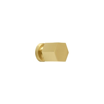 "MH-HXK-4 1/2"" Hexad Brushed Brass Knob"